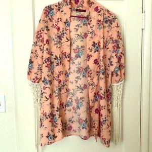 Honey Punch Swim - Pink Floral Fringe Cardigan/Cover Up M